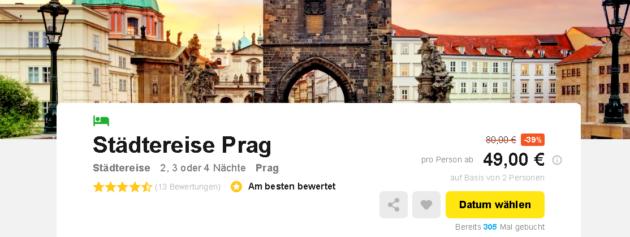 Prag Städtetrip Schnäppchen