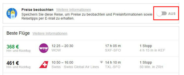 Google Flights beobachten