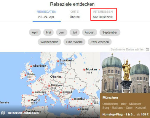 Google Flights Reiseziel nach Interessen entdecken