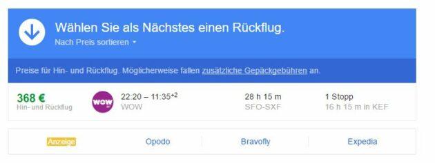 Google Flights Rückflug