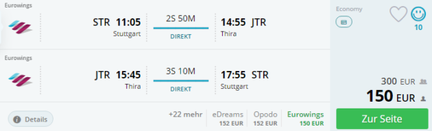 Santorin Flug Deal