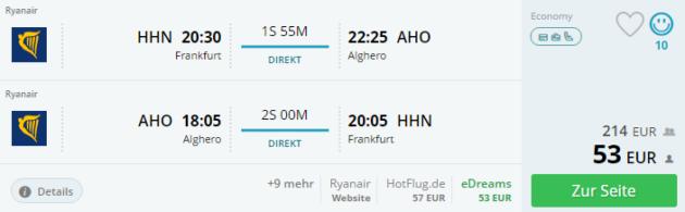 Sardinien Flug Angebot
