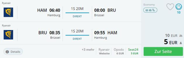 Flug Hamburg Brüssel
