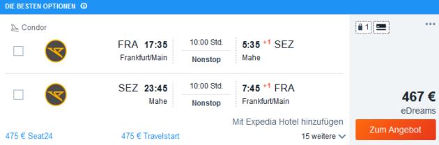 Flug Frankfurt Mahe