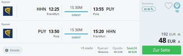 Flug Frankfurt Pula