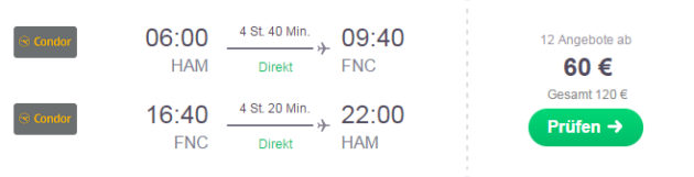 Flug Hamburg Madeira