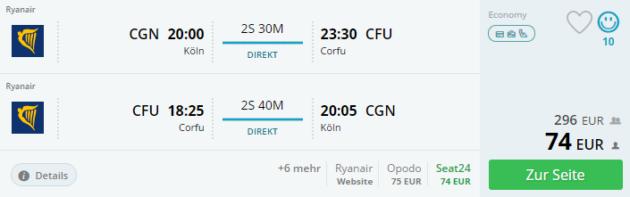Flug Köln Corfu