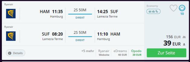 Flug Hamburg Lamezia Terme