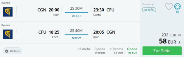 Flug Köln Korfu