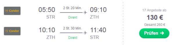 Flug Stuttgart Zakynthos