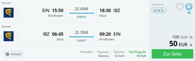 Flug Eindhoven Ibiza
