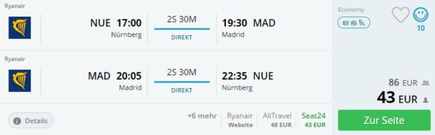Nuernberg nach Madrid