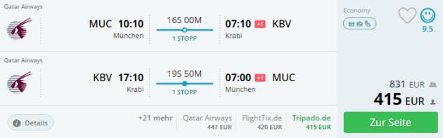 Flug Krabi München