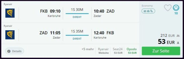 Flug nach Kroatien