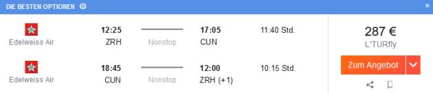 Flug Zürich Cancun