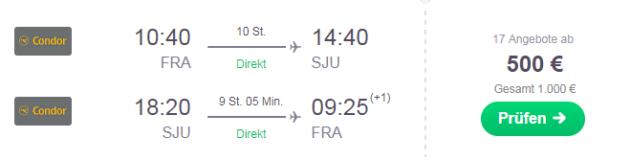 Frankfurt am Main (alle)nach - San Juan (alle)
