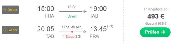 Tobago Flug ab Frankfurt
