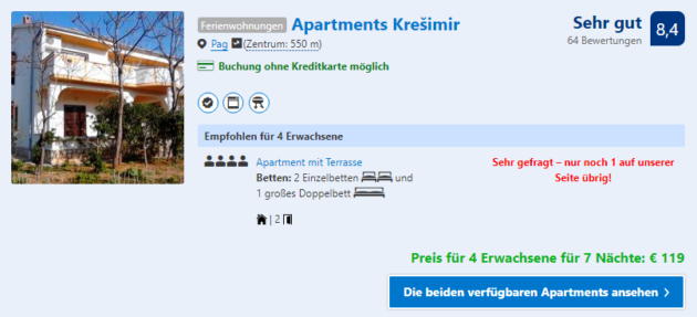 Kroatien Apartment Angebot