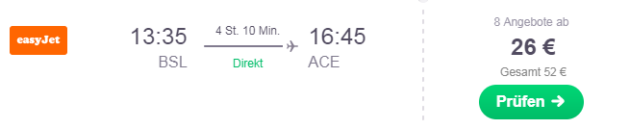 Flug Basel Lanzarote