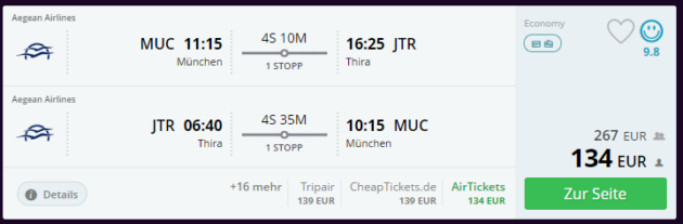 München nach Santorini