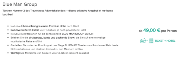 2 Tage Blue Man Group