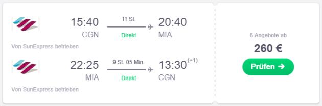 Cologne nach Miami