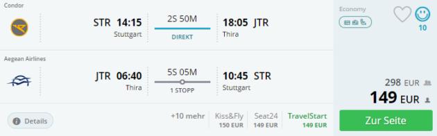 Flug Stuttgart Thira