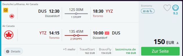 München nach Toronto Flug