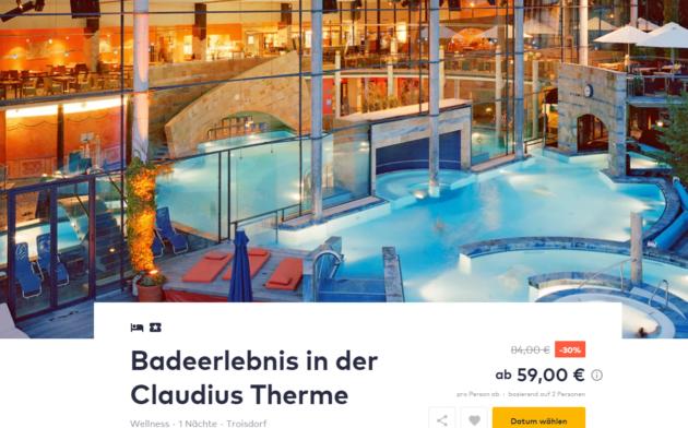 claudius therme eintritt bernachtung im 4 hotel mit fr hst ck ab 59. Black Bedroom Furniture Sets. Home Design Ideas
