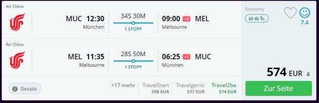 Flug München Melbourne
