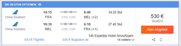 Frankfurt nach Melbourne
