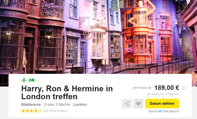 London Flug Hotel Harry Potter