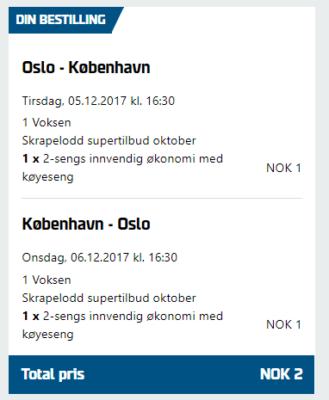 Oslo nach Kopenhagen