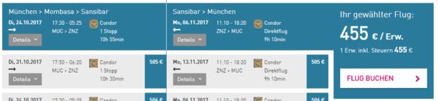 Sansibar Flug Deal