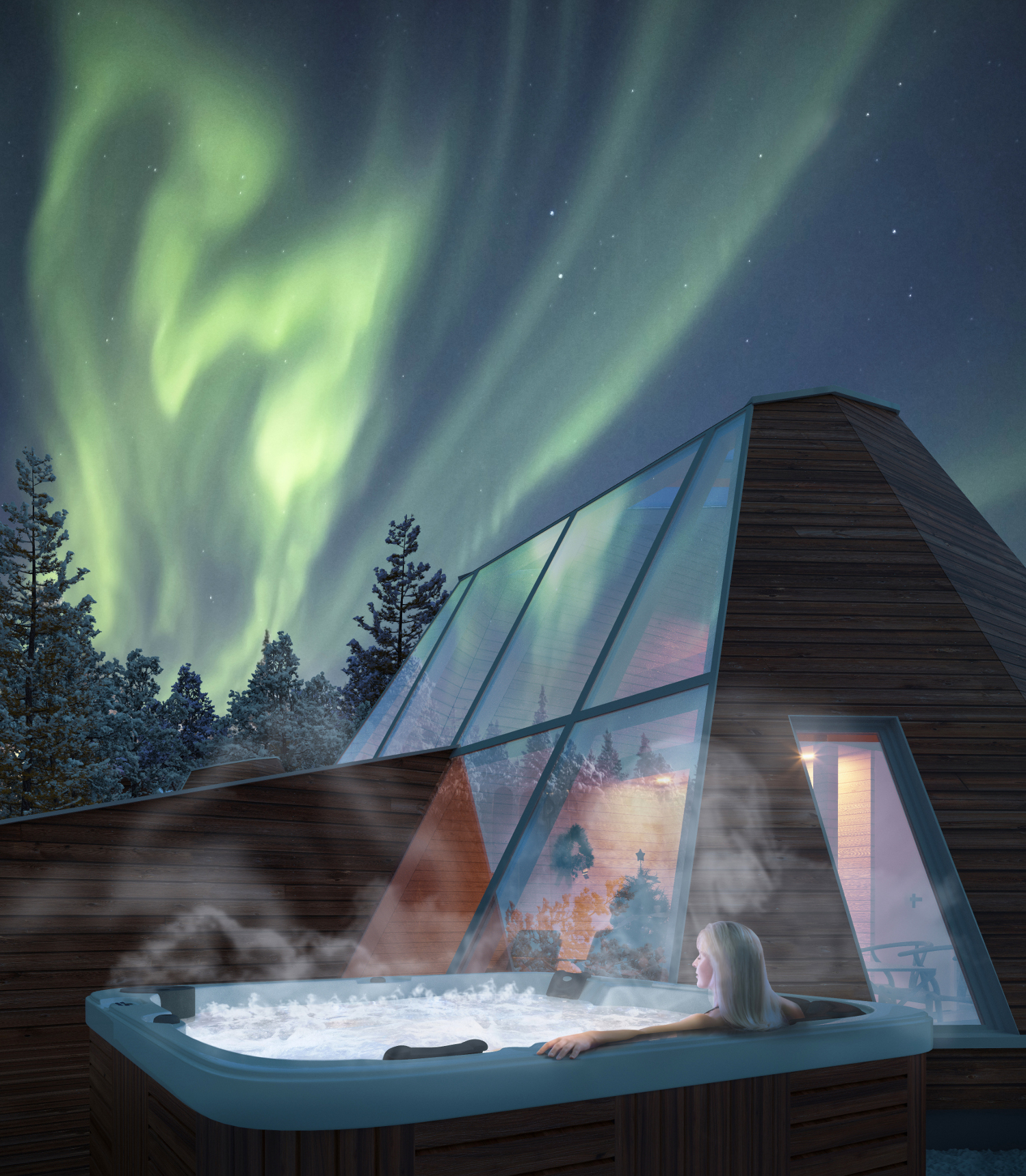Northern lights 2 days in finland with a private glasshouse breakfast whirlpool sauna only - Sauna whirlpool ...