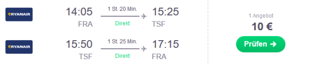 Flug Frankfurt Venedig