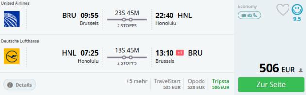 Flug Brüssel Honululu