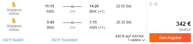 Amsterdam nach Bangkok