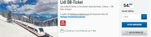 Bahntickets Lidl