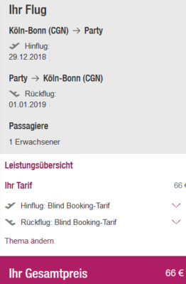 Blind Booking Silvester