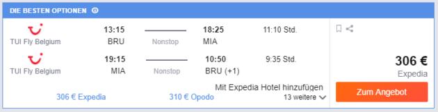 Brussel nach Miami