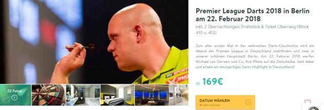Premier League Darts 2018 3 Tage Berlin Im 4 Hotel Mit Frühstück