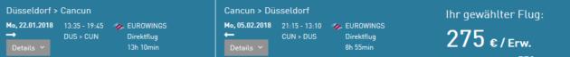 Flug Düsseldorf Cancun