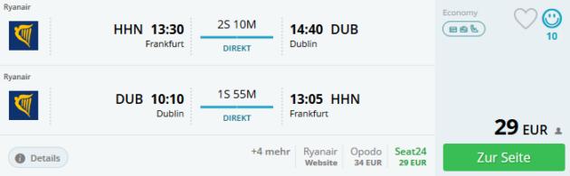 Flug Hahn Dublin