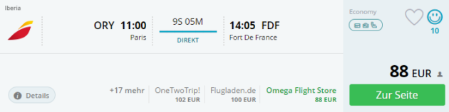 Paris nach Martinique