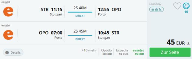 Flug Stuttgart Porto