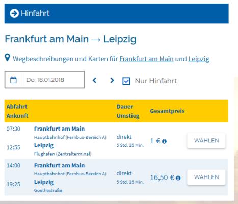 Deinbus Frankfurt nach Leipzig