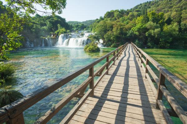 Kroatien Krka Wasserfall Steg