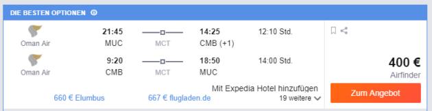 München nach Colombo