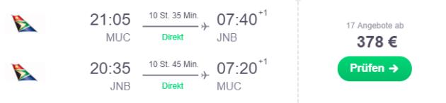 München nach Südafrika